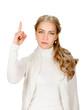 Eureka. Woman with an idea raising her finger