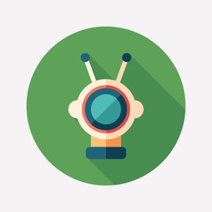 Colorful robot flat round icon with long shadows. Set 21