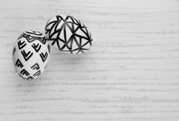 Easter Eggs in Black and White with Free Hand Sketch