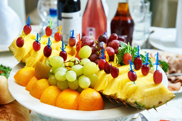 Fruit on the table of the restaurant