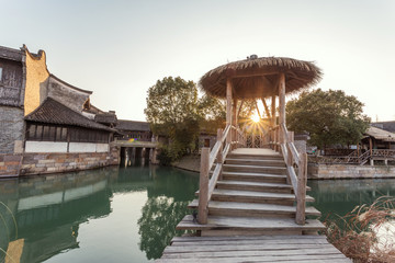 traditional chinese landscape in water town, wuzhen