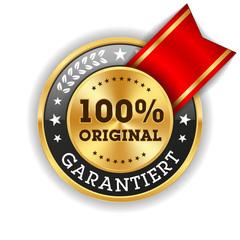 Goldener 100 Prozent Original Siegel Mit Roter Scherpe