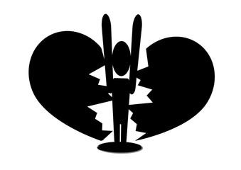 Durchbruch / Einbruch - Piktogramm / Zerbrochenes Herz