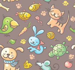 Pattern with pets and their food