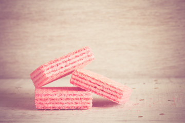 Pink waffles with filter effect retro vintage style