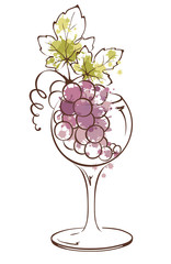Watercolor illustration, vector -- bunch of grapes in wineglass