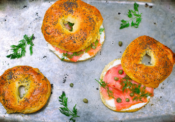 bagel  with a smoked salmon and cream cheese