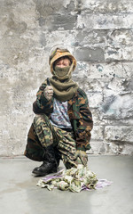 Little soldier with money