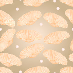 Seamless texture  shells and pearls vector
