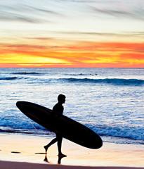 Surfer at sunset, Portugal