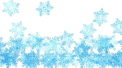 Light blue crystal snowflakes is falling down on a white