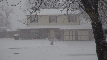 Snowing Hard on House Thru The Trees