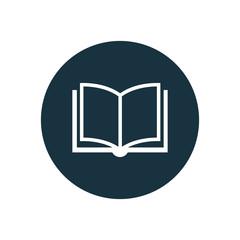 book icon, round shape.