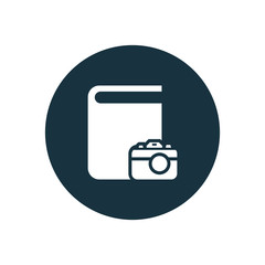 book photo icon, round shape