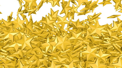 Gold stars is falling down on a white and forming a wall