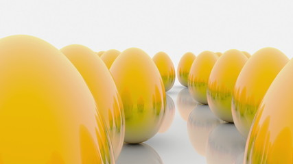 Abstract golden eggs on white background