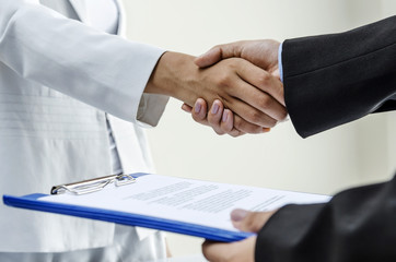 Business gesture of handshaking for a deal