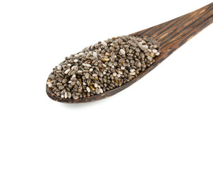 chia seeds in a wooden spoon isolated on white