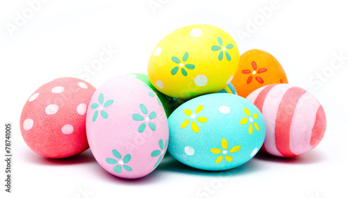 Fotobehang Egg Colorful handmade easter eggs isolated
