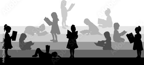 Silhouette of a girl reading a book. - 78741056