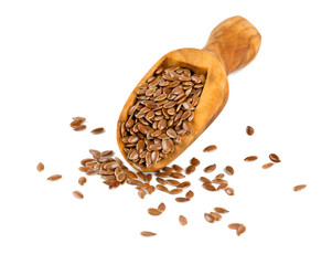 flax seed in a wooden scoop isolated on white