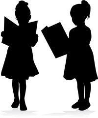 Silhouette of a girl reading a book.
