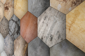 textured stone hexagons