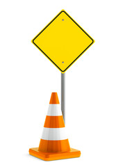 Road sign and traffic cone