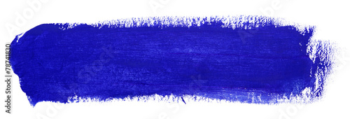 Blue stroke of gouache paint brush - 78741830