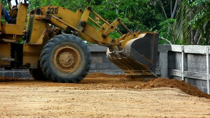 Earthmover dozer doing earthmoving works outdoors. Video