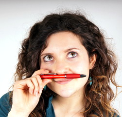 Girl with pen