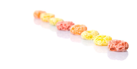 Colorful fruit flavored loops shaped cereal