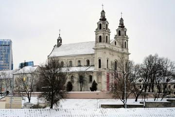 Vilnius archangel church on the board river Neris