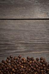 Coffee beans stripes on wooden texture