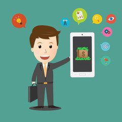 Businessman holding smart phone with Business icon make money