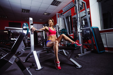 A young healthy athletic woman is pushing weight at gym.