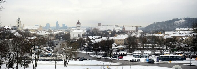 Vilnius City White Winter Morning Time Panorama