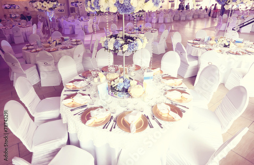 Wedding flowers decoration in the restaurant - 78743291