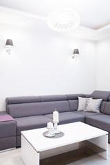 Close-up of gray corner sofa
