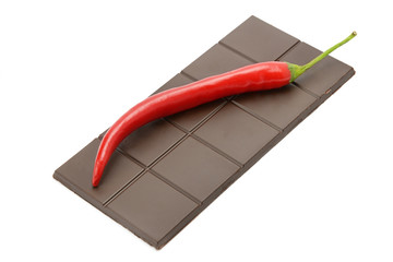 bar of chocolate and chili pepper