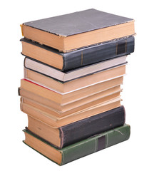 pile of old paper books isolated over white