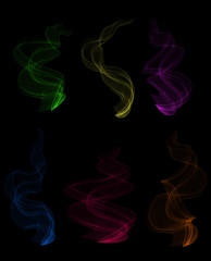 Colorful smoke clouds