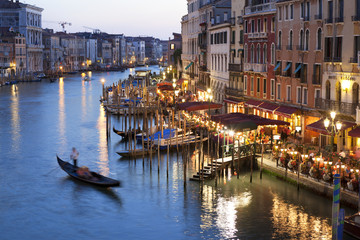 Grand Canal in Venice Italy at night