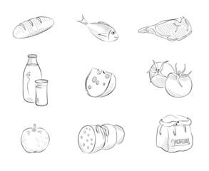 Set graphics illustrations -- foods