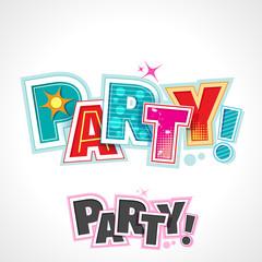 Retro Party Text, Vector Lettering Invitation