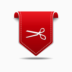 Scissor Sign Red Vector Icon Design