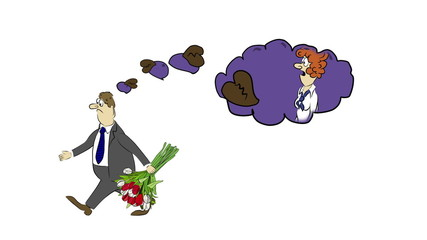 Cartoon businessman was rejected
