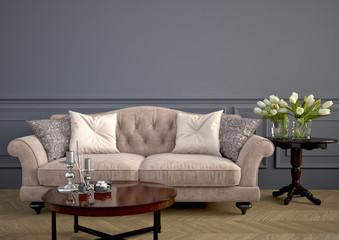 Beautiful vintage sofa. 3d rendering