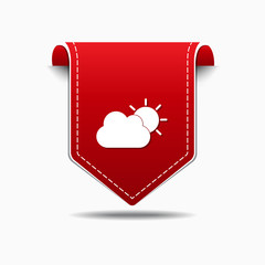 Sunny Cloud Red Vector Icon Design
