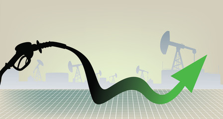Oil products price growth illustration